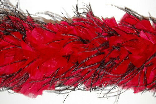 "TURKEY FEATHER BOA - Red w/ Black Ostrich 2 Yards 6-8"" Thick (Halloween/Bridal)"