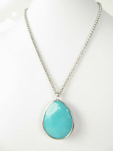 Fossil-Silver-Tone-Teal-Teardrop-Pendant-Necklace-NEW