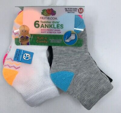 6 Fruit of the Loom Girls/' Everyday Active No Show Athletic Socks Size Medium