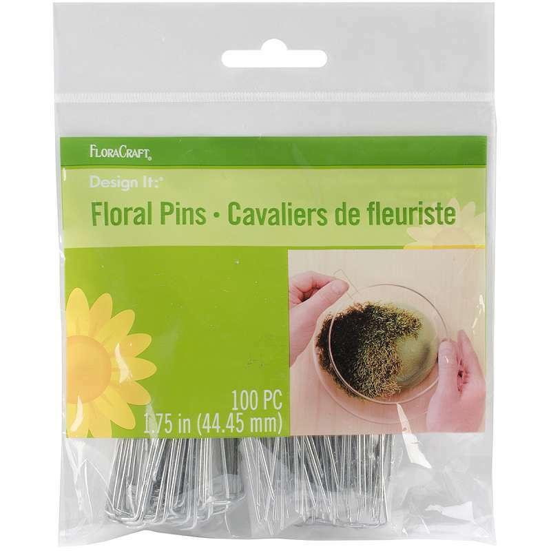 "Floral Pins 1.75/"" 100//Pkg Silver 046501045256"