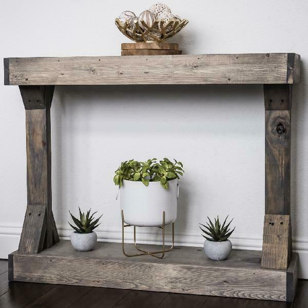 Weathered Wood Console Table Mirrored