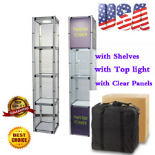 811 Aluminum Spiral Tower Display Case With Shelves Top Light And Clear Panel