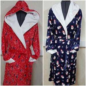 Image is loading Fleece-Dressing-Gown-Ladies-Winter-Womens-Robe-Santa- 8cb60da88