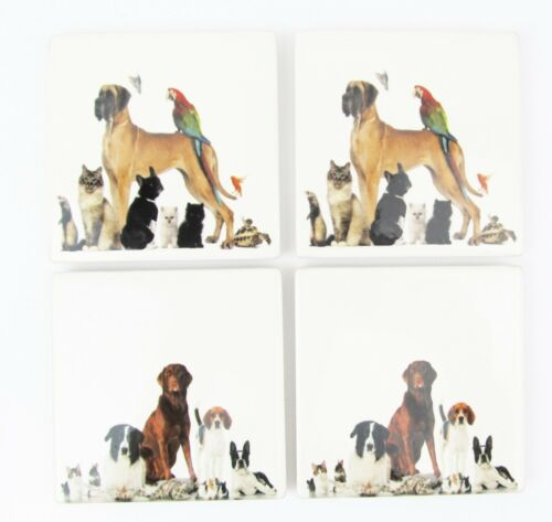 Dog Coaster Set4, 2 Styles Keepsafe box Incl Cats, Birds, Ferret, Rabbit etc