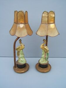 Bird-figure-electric-table-lamp-x-2-matched-pair-porcelain-not-Beswick-unusual