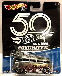2018 Hot Wheels 6//10 Volkswagen T1 Drag Bus *50th Anniversary FAVORITES*