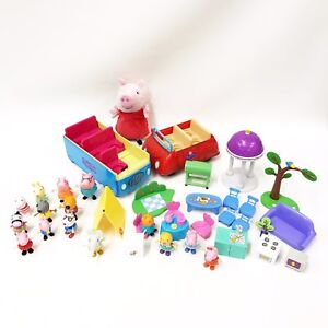 Peppa-Pig-Toy-Lot-Furniture-Bus-Car-Sounds-15-Figures-No-Duplicates-Playset-A5