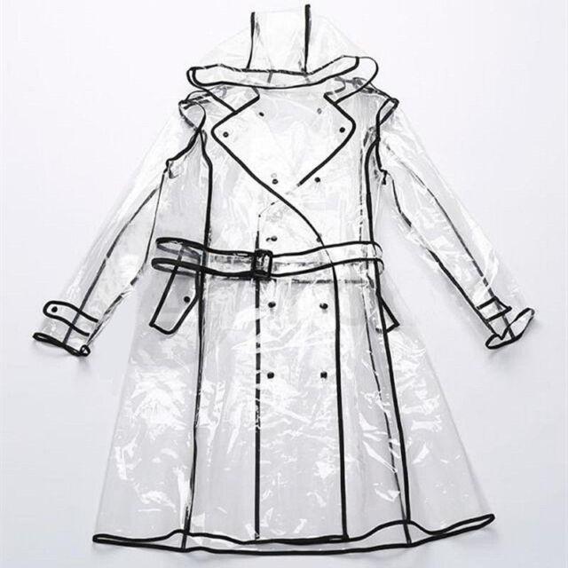 Fashion Women Eva Clear Raincoat, See Through Plastic Trench Coat