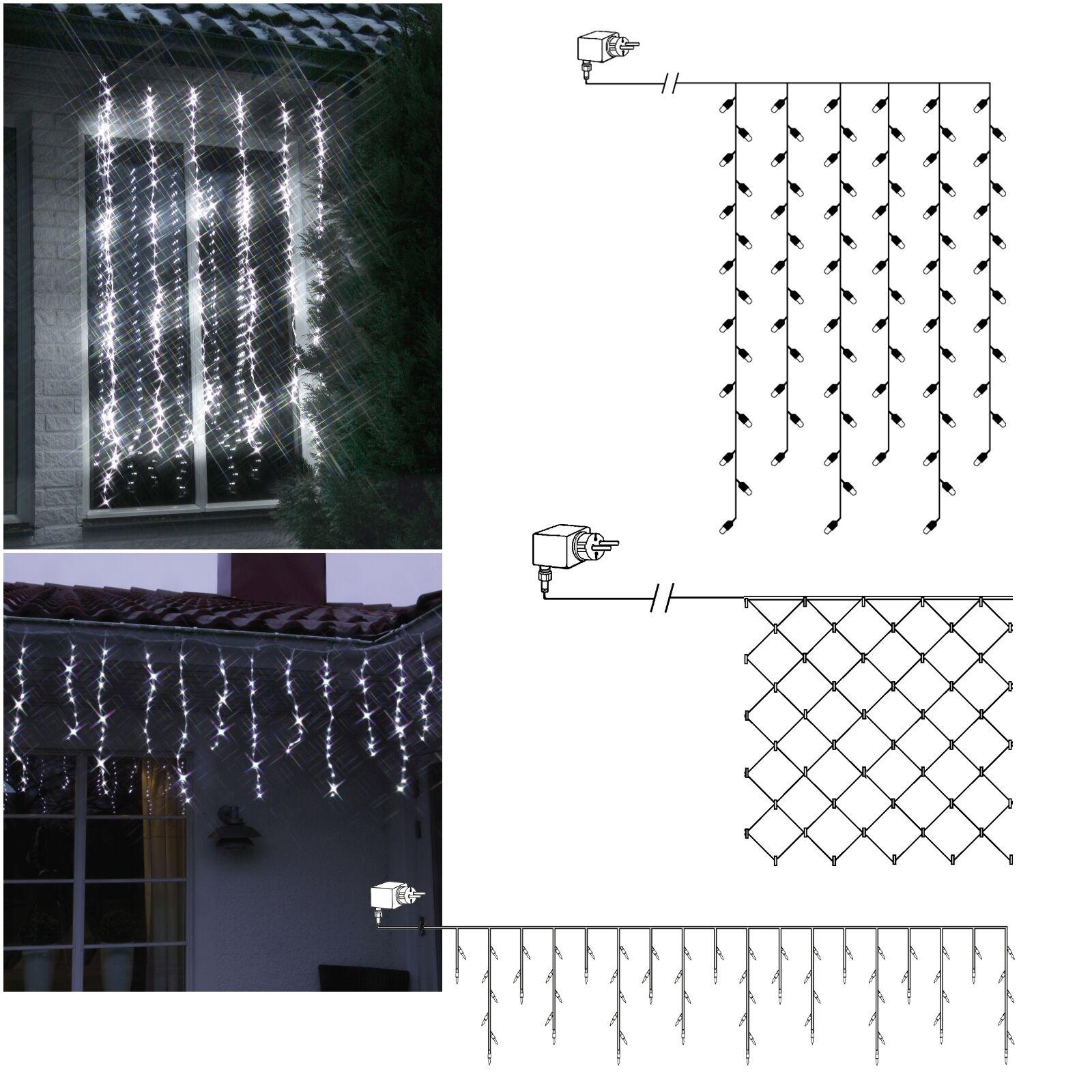 LED-Lichternetz Lichtervorhang mit Lauflicht Schneefall-Effekt für Außen Garten