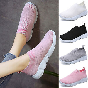 Women-Flats-Mesh-Comfy-Trainers-Walk-Sports-Knitted-Sock-Sneakers-Slip-On-Shoes