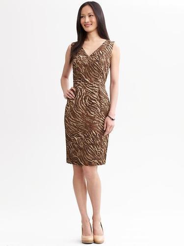 NEW Banana Republic Womens Brown Zebra V-neck Sheath Dress Linen Blend 10 M $140
