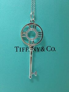 Tiffany Co Atlas Keys Key Pendant Necklace 18k White Gold Diamonds W Blue Box Ebay
