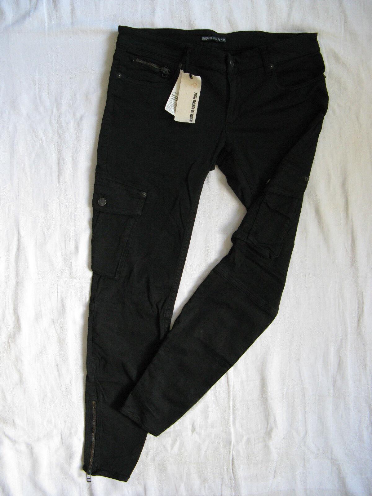 Drykorn Damen Jeans Röhre Denim Stretch Cargo W31 L30 x-low waist slim fit pipe