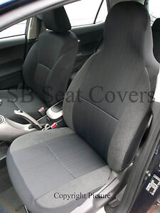 2 FRONTS TOYOTA MR2  CAR SEAT COVERS EBONY BLACK CLOTH FABRIC