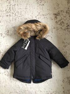 New Zara Baby Boy Dark Blue Fur Lined Hooded Parka Down ...