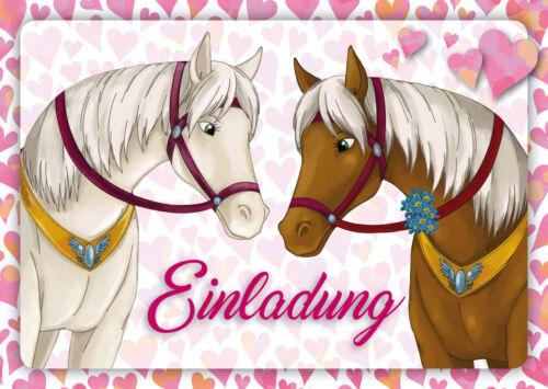 6 Pferde Einladungskarten Mädchengeburtstag Geburtstagseinladungen Kinder