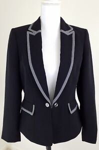Tahari-ASL-Women-039-s-Size-6-Black-Open-Front-Blazer-Career-Office-Ware-Jacket