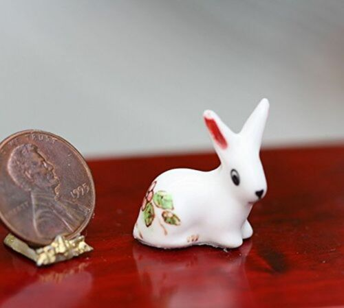 Dollhouse Miniature Porcelain Rabbit or Bunny in Pink and Green