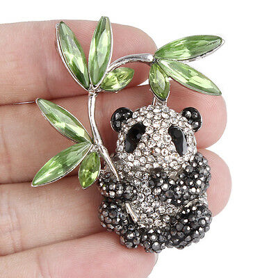 Cute Animal Panda Baby Bamboo Leaf Brooch Pin Grey w Black Austrian Crystal