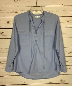 Madewell-Women-039-s-S-Small-Blue-Cotton-Long-Sleeve-Cute-Tie-Fall-Top-Shirt-Blouse