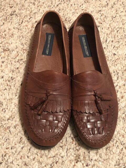 Giorgio Brutini Men's Size 12 Slip On Brown Leather Woven Tassel Loafers