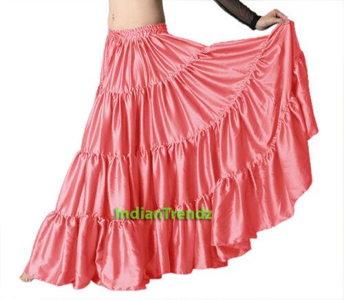 Satin 6 Yard Tiered Gypsy Skirt Belly Dance Tribal Ruffle Costume Jupe Flamenco