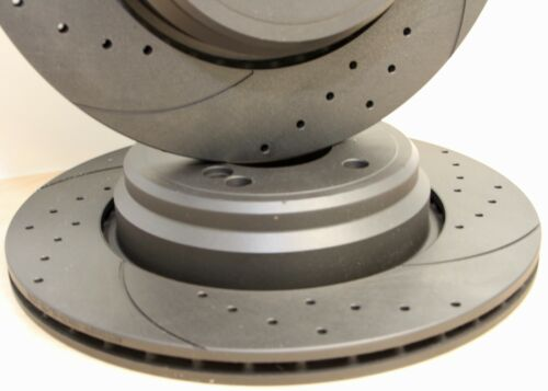 Fits BMW M3 E46 Z4M Drilled /& Grooved Rear Brake Discs Vented 328mm Fast Road