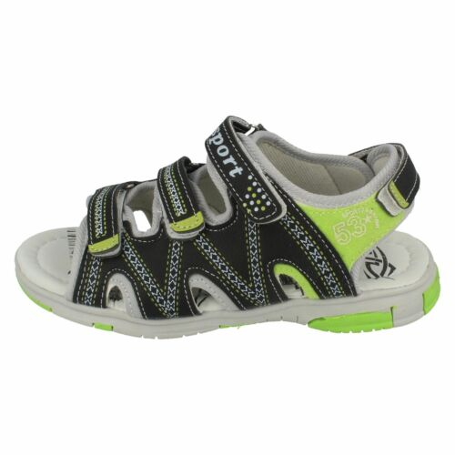 ZP6R073 SPOT ON BOYS RIPTAPE OPEN TOE STRAPPY SUMMER CASUAL SANDALS SIZES