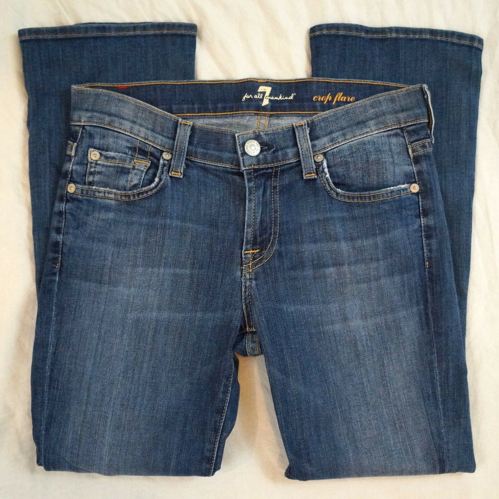 7 For All Mankind Crop Flare Low Rise Medium Wash Jeans Size 26 (F22)