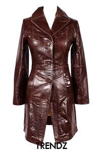 Brown Dames en vache veste Manteau peau longueur cuir de en s3476 Middleton verni BRRpHg