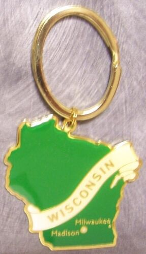 Metal Key Ring State of Wisconsin NEW engraveable back