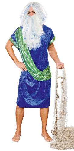 XL Neptun Gewand Wassermann mit Schärpe blau grünes Poseidon Kostüm Gr