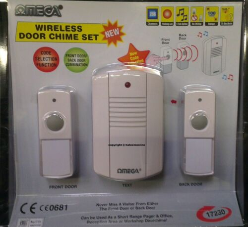 PORTABLE WIRELESS DOOR CHIME FRONT /& BACK 2 PUSH BELL BUTTONS BATTERY OPERATED