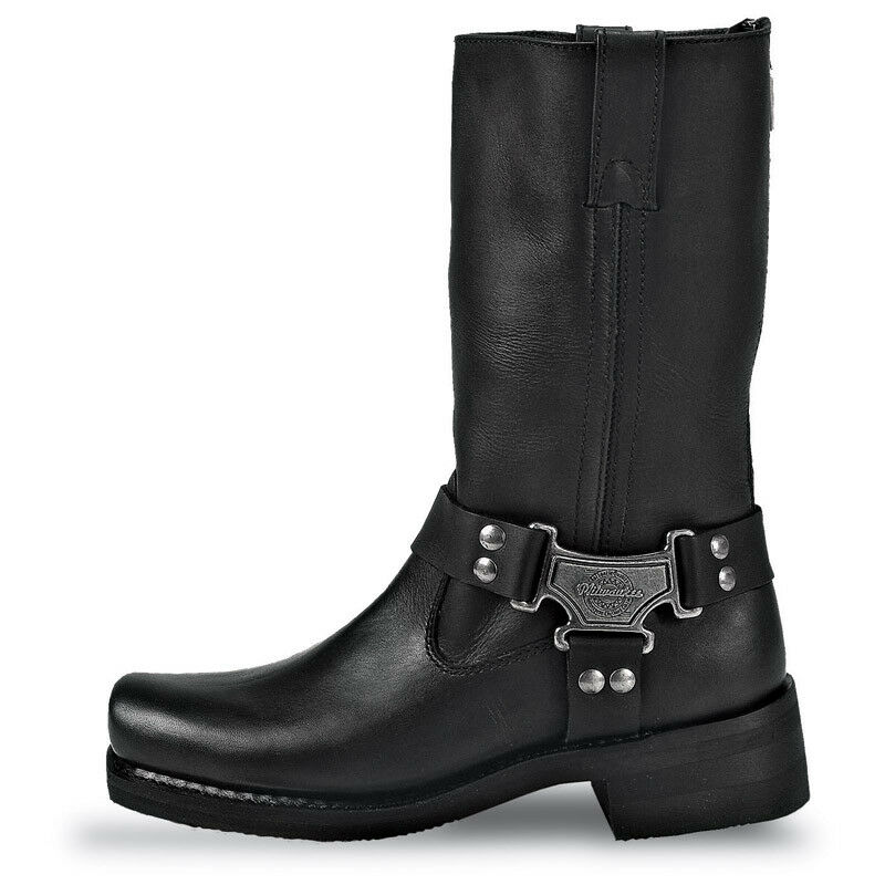 Milwaukee Men's Black Pull On Square Toe Harness Motorcycle Boots MB410 NIB
