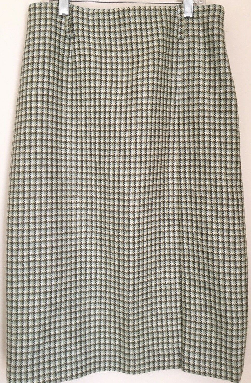 Women's Skirt TALBOTS Pencil GREEN AQUA HOUNDSTOOTH  Wool Straight 4