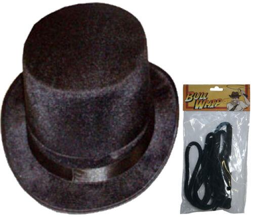 New Unisex Ringmaster Black Topper Hat /& Bull Whip Velour Fancy Dress