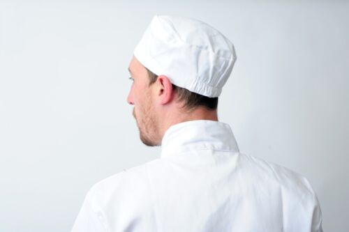 White Chefs Skull Cap Chefs Catering Skull Hat Professional Kitchen Hat