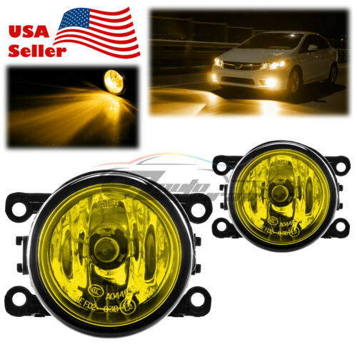 Pair Fog Light Lamp Yellow Lens Upgrade Aftermarket OEM Replacement H11 Bulb F4