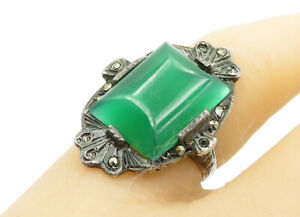925-Silver-Vintage-Carnelian-amp-Marcasite-Victorian-Cocktail-Ring-Sz-5-R13581