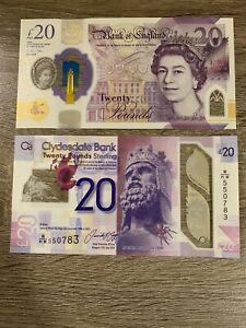 Clydesdale Bank Scotland 20 Pounds Bill UNC Note 20 Scottish Pound Banknote