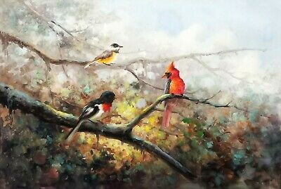 ZWPT236 vogue 100/% hand-painted three birds wall art oil painting on canvas