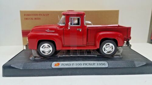 """1956 Red Ford F 100 Pickup Truck Die Cast Model 7/"""" With Display Stand"""