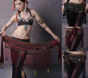 Belly-Dance-Costume-Copper-Hip-Scarf-Tribal-Fringe-Tassel-skirt-Dress-Belt
