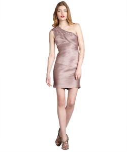 BCBGMAXAZRIA Dusty Rosa Banded 'eden' One Shoulder Dress Rosa Bandage Sz 8 1035