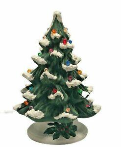 Vtg-70-039-s-Holland-Mold-Ceramic-Christmas-Tree-Colored-Lights-And-Base-Unglazed