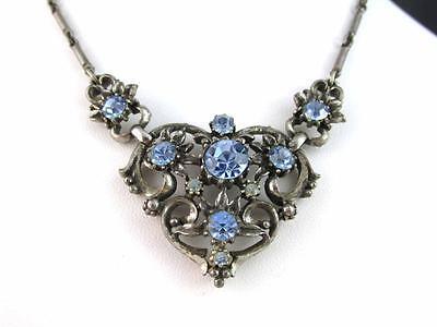 Early Vintage Signed CORO Blue Rhinestone Silver Tone Choker Necklace