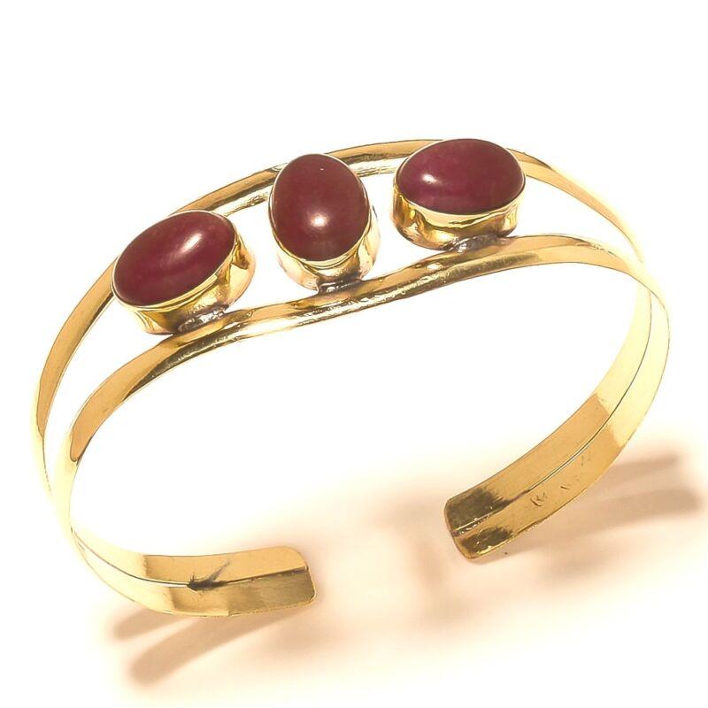 Ruby Bangel Cuff Bracelet Tibetan Silver Brass Jewelry