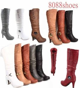 c8cd78acd67 Women s Round Toe High Heel Platform Mid-Calf Knee High Boots Shoes ...