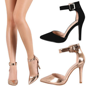 New-Women-Pointy-Toe-dOrsay-Buckle-Ankle-Strap-Stiletto-High-Heel-Pump-Sandal-US