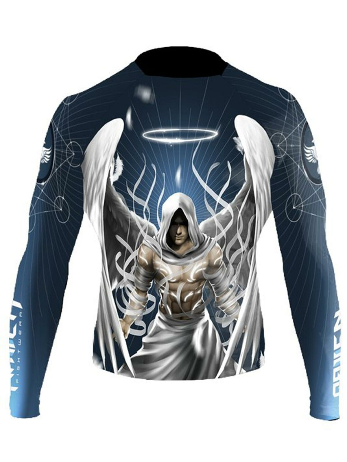 Raven Fightwear Men/'s Quetzalcoatl Aztec Rash Guard MMA BJJ Black